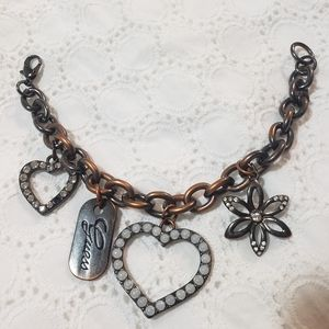 Guess Vintage Black Silver Heart Tag CharmBracelet